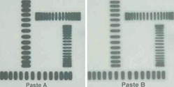 Figure 1. Correct solder selection is essential. Two SAC alloy solder pastes were reflowed at 180°C. Paste B has better hot slump properties than Paste A, and is therefore less likely to cause solder bridges, solder balls or mid-chip balling